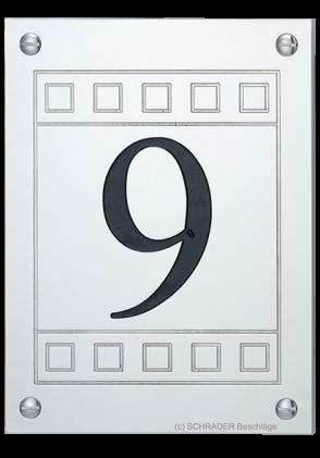 hausnummernschild anno 1929, hausnummernplatte art deco, hausnummernschild eckig nickel, eckiges hausnummernschild,