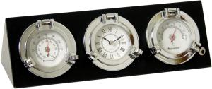 wetterstation hygrometer thermometer uhr wetterkonsole  chromkonsole