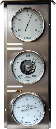edelstahlmessstation edelstahlkonsole wetterkonsole außenuhr  hygro hygrometer baro barometer thermo thermometer