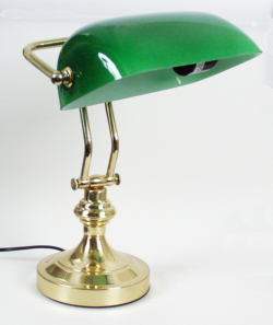 messingbankerlampe  banklampe grünschirmlampe